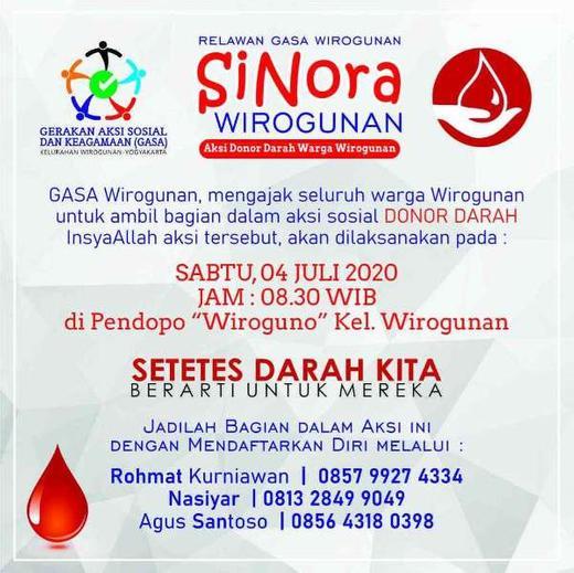 Yuk, Jadilah Bagian dari kegiatan SiNora (Aksi Donor Darah) dari GASA Wirogunan